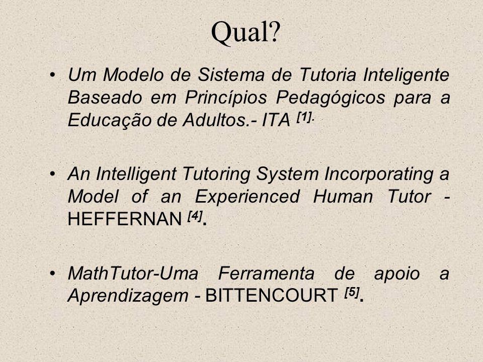 Qual Um Modelo de Sistema de Tutoria Inteligente Baseado em Princípios Pedagógicos para a Educação de Adultos.- ITA [1].